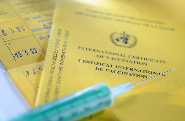 Vaccination record, international certificate of vaccination, yellow fever vaccination
